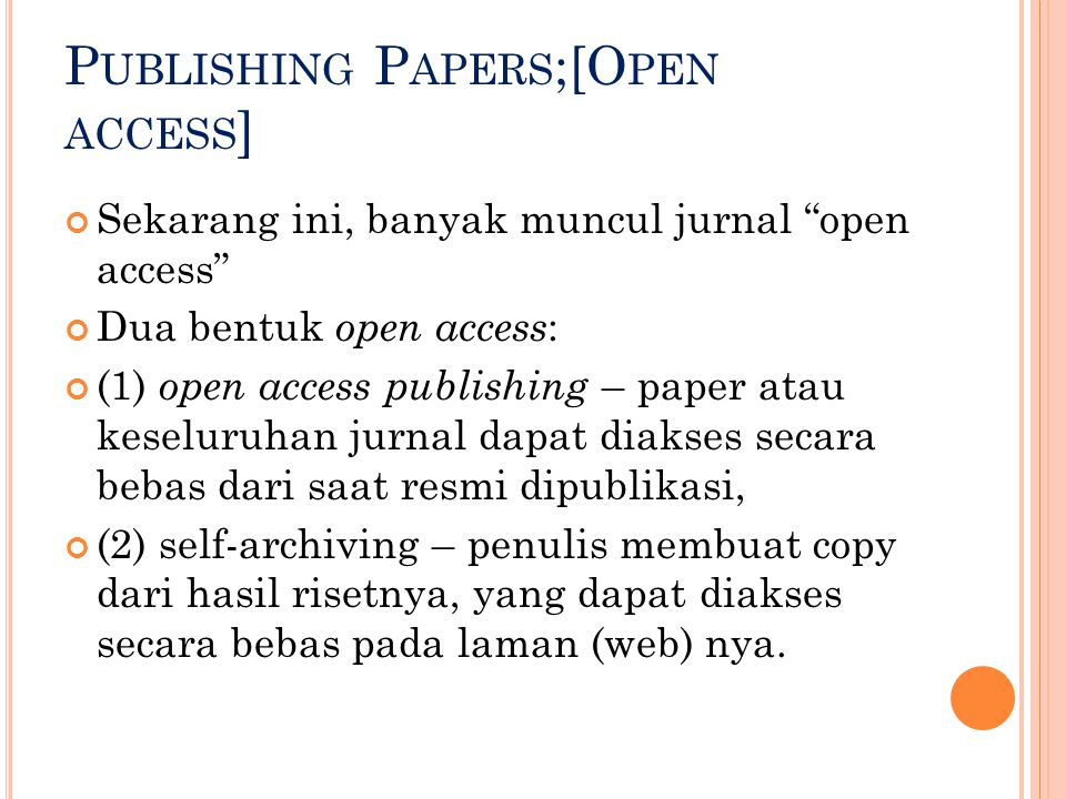 Publishing Papers;[Open access]